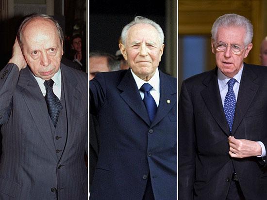 מונטי, צ'יאמפי ודיני. שלושה טכנוקרטים שאיטליה העמידה כראשי ממשלותיה / צילום: Associated Press, Luca Bruno ,Andrew Medichini ,Mario Vassetta