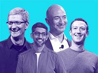 מנכ''ל פייסבוק מארק צוקרברג, בעל השליטה באמזון ג'ף בזוס, מנכ''ל גוגל  סונדאר פיצ'אי ומנכ''ל אפל טים קוק / צילום: Associated Press, Paul Sakuma Phelan M. Ebenhack Jeff Chiu