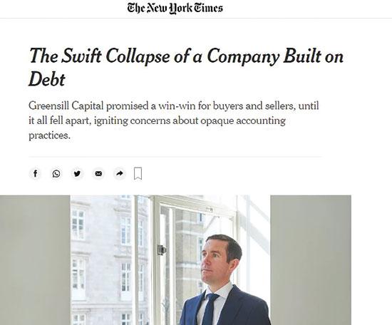 """הניו יורק טיימס על """"נפילתה המהירה של החברה שהוקמה על חובות"""""""