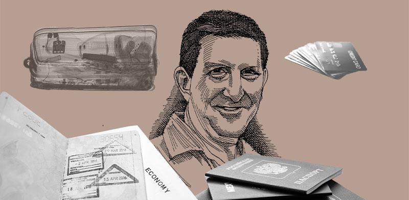 מיכאל (מייק) בן ארי. עקץ, איים, הפקיד דרכון ונעלם. עיצוב: טלי בוגדנובסקי / איור: גיל ג'יבלי