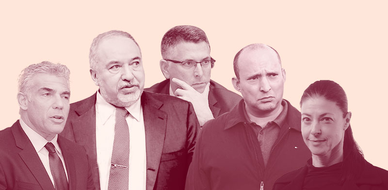 """מיכאלי, ליברמן, בנט, סער ולפיד / צילום: AP, חיים צח לע""""מ, דוברות הכנסת"""