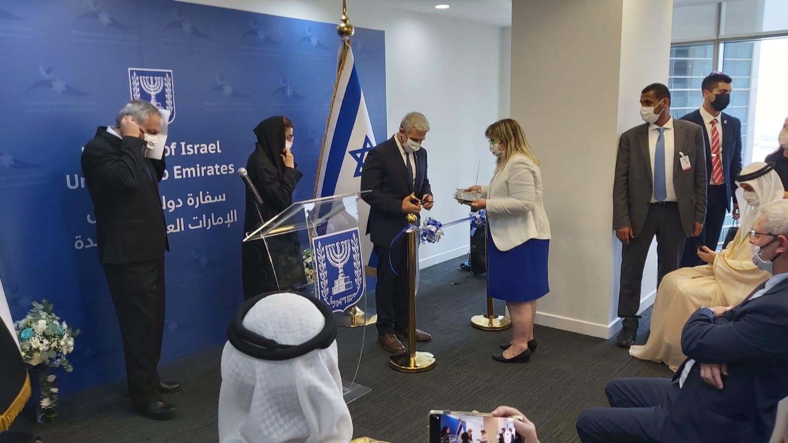שר החוץ, יאיר לפיד חונך את שגרירות ישראל באבו דאבי / צילום: דני זקן