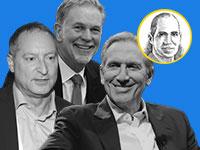 מימין: הווארד שולץ, ריד הייסטינגס, דניאל בירנבאום / צילום: איל יצהר, AP-Ted S. Warren; Benoit Tessier