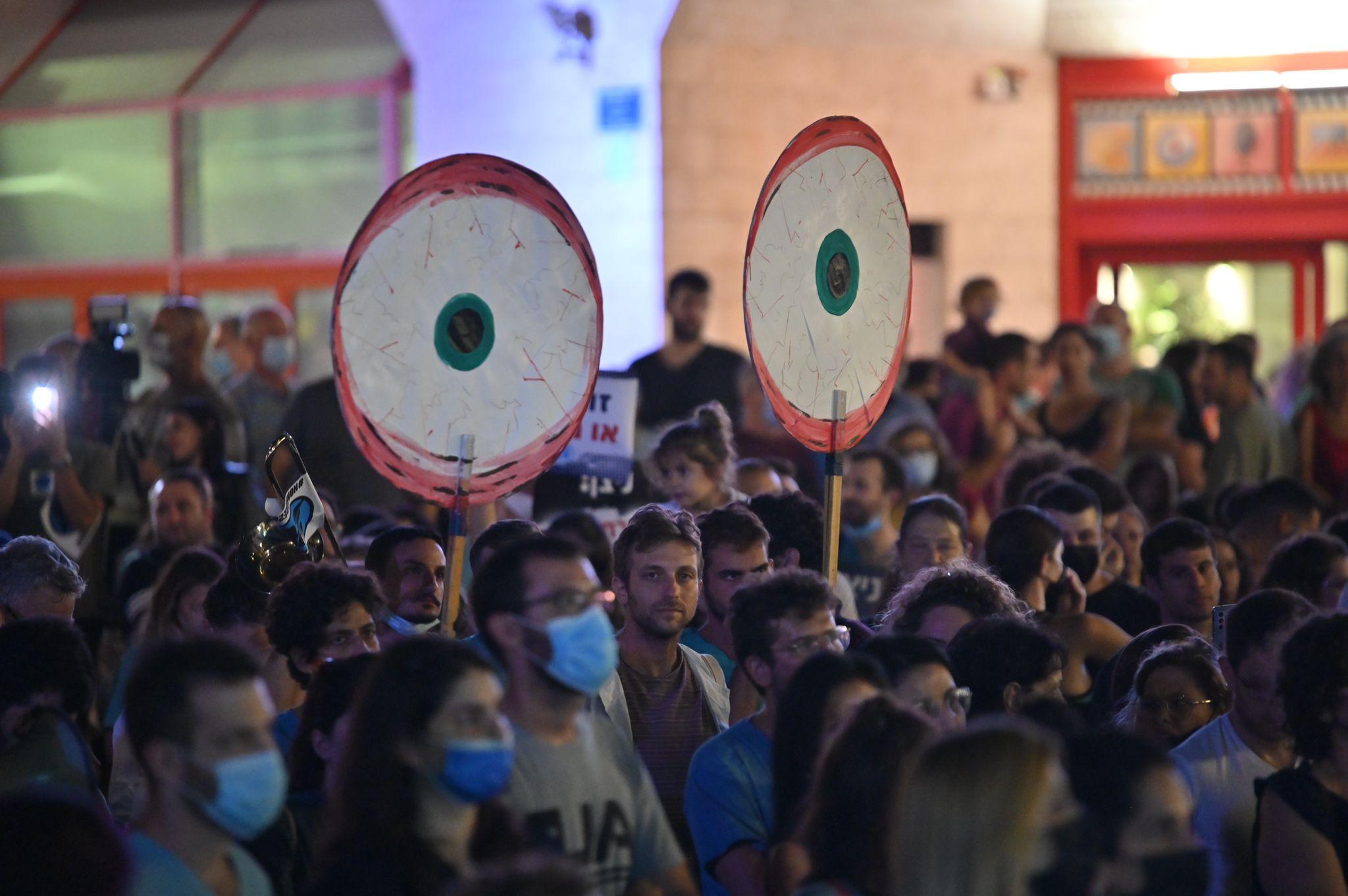 הפגנת המתמחים ברחבת הסינמטק, תל אביב, 9.10 / צילום: אלעד גוטמן