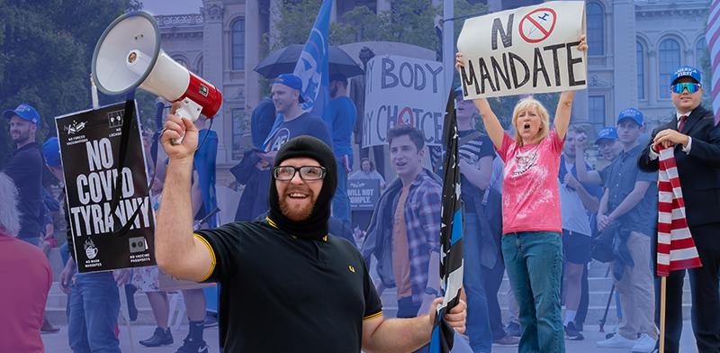 מחאה נגד חיסון והגבלות קורונה מחוץ לבירת מדינת אילינוי, ספרינגפילד, ארצות הברית / צילום: Patrick Gorski