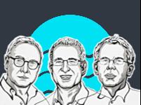 מימין: גווידו אימבנס, ג'וש אנגריסט ודיוויד קארד. זוכי פרס הנובל בכלכלה ב-2021 / איור: Niklas Elmehed, the royal swedish academy of sciences