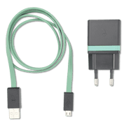 Cargador 1A Micro Usb con Cable. Gris/Verde (3022729)