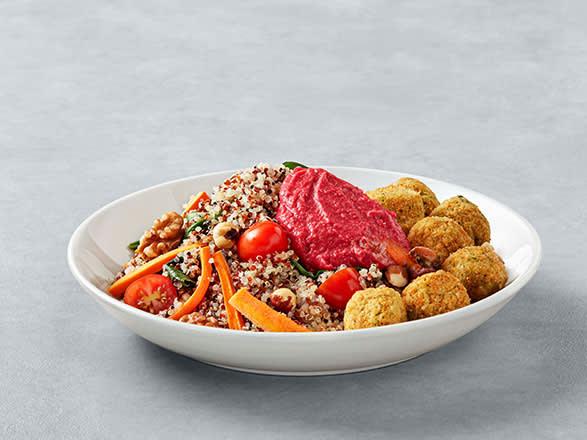 Quinoa Bowl c/ Falafel e Hummus Beterraba