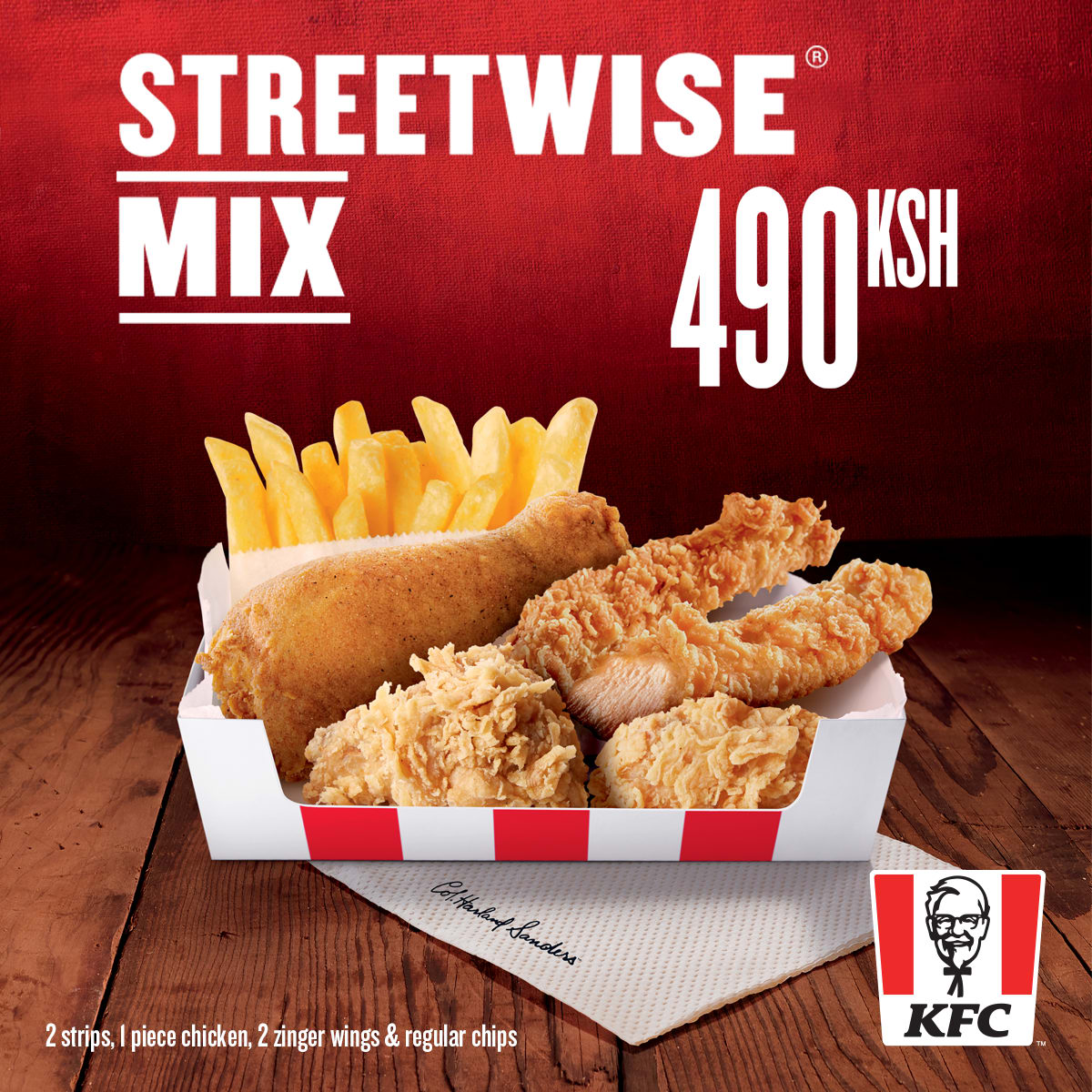 1 chicken on bone, 2 chicken strips, 2 wings, regular chips