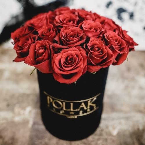 Pollak flowers box velvet black mala kutija 11 ruža