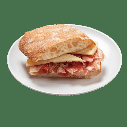 Bocadillo De Jamón Y Manchego De Pan De Cristal