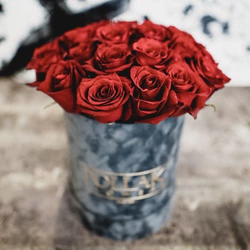 Pollak flowers box velvet gray mala kutija 11 ruža