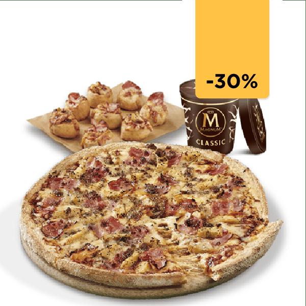 Pizza mediana + Tarrina helado + Patatas gajo (Antes 27€)