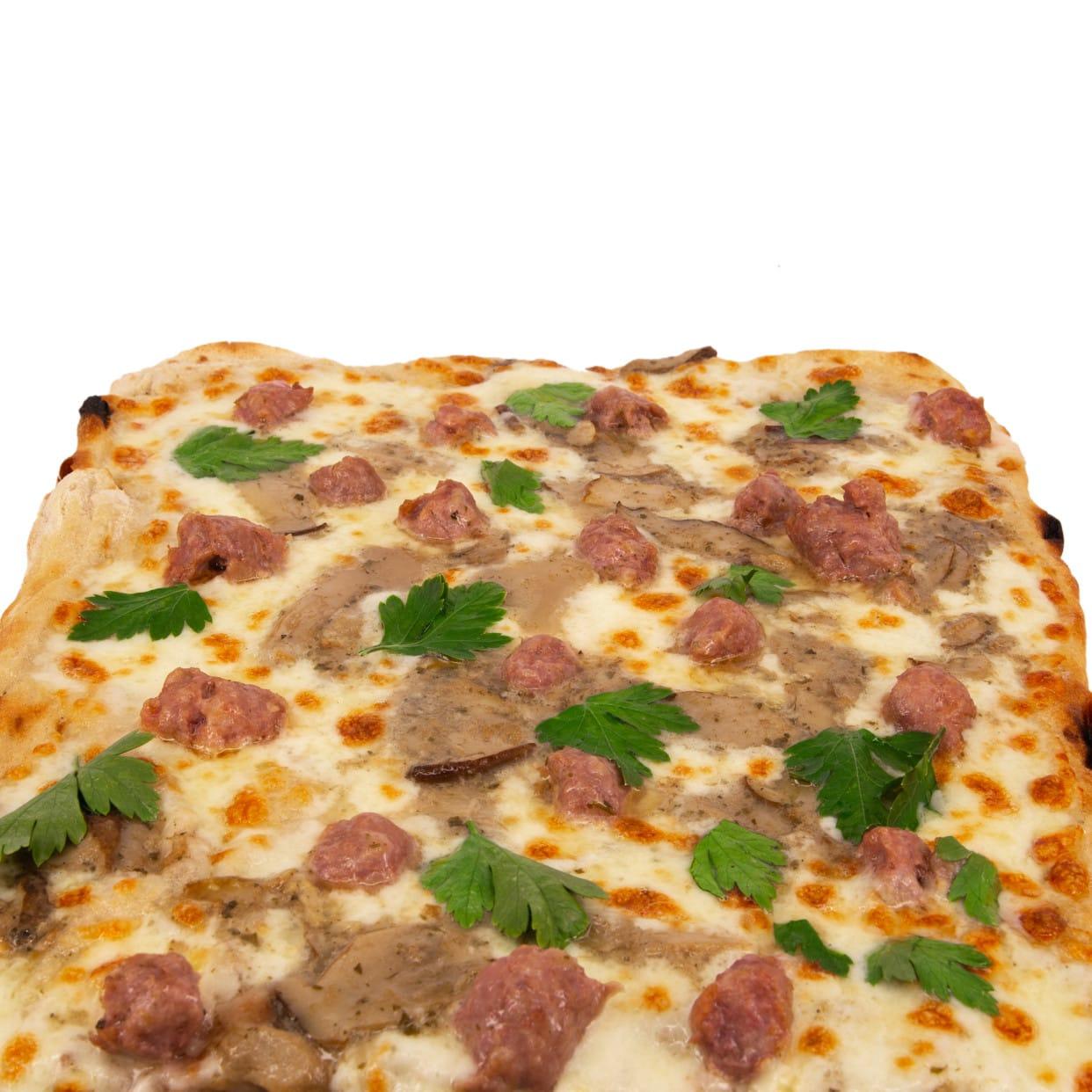 Pizza salsiccia e funghi porcini - pala intera