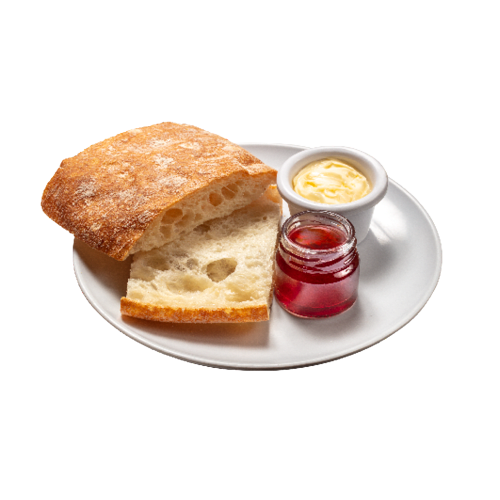 Tostada De Pan De Cristal Con Mantequilla Y Mermelada