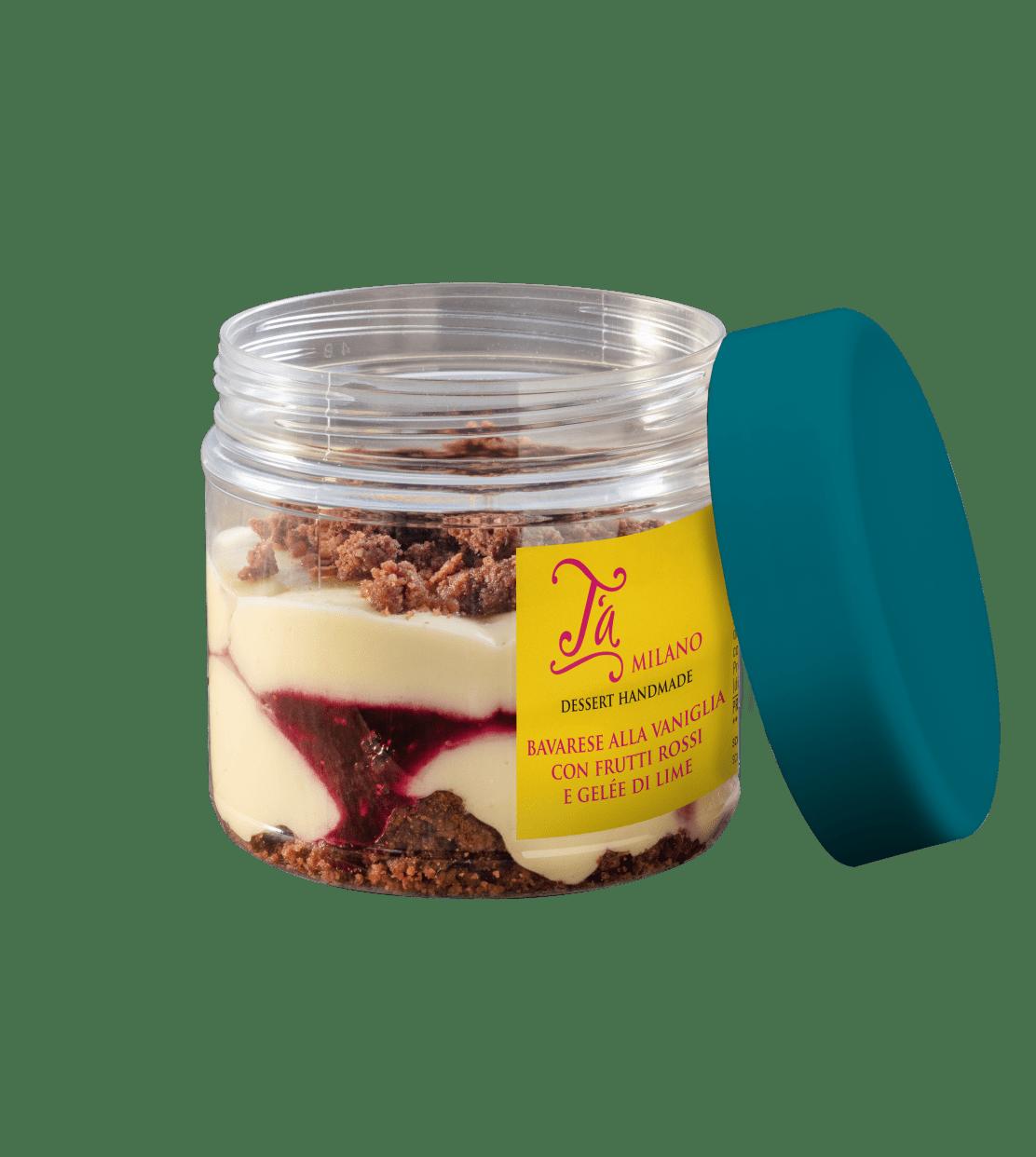 Bavarese alla vaniglia con frutti rossi e gelée di lime