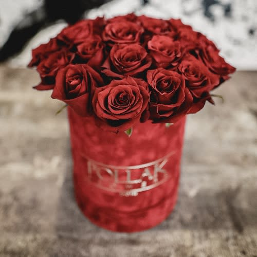 Pollak flowers box velvet red mala kutija 11 ruža