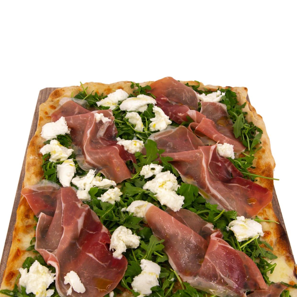 Pizza rossa crudo e bufala - pala intera