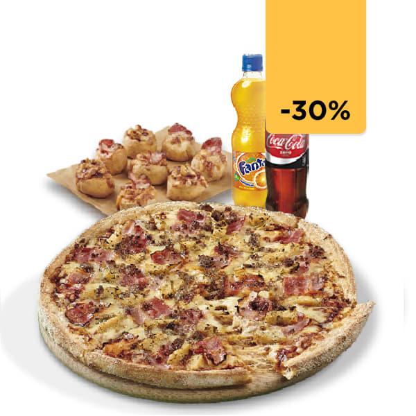 Pizza Familiar + 2 Bebidas y 8 Pizzolinos (Antes 30,85€)