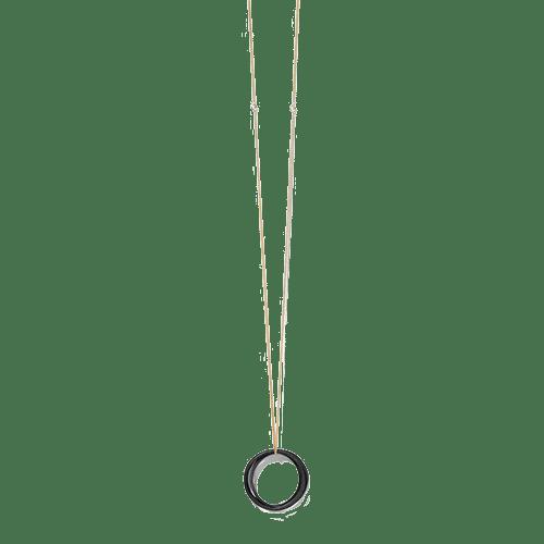 Collana Tre cerchi, placcatura oro e ciondoli ossidati