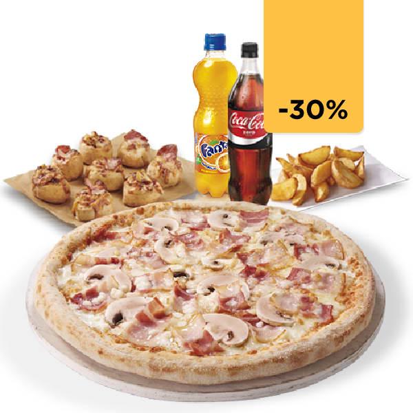 Pizza mediana + 2 Bebidas + 8 Pizzolinos (Antes 28,50€)