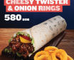 Dunked Cheesy Twister + Onion Rings