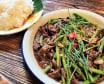 Wołowina z fasolką szparagową  w sosie pieprzowym