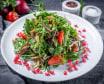 Салат с ягненком и жареными баклажанами