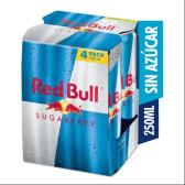 Red Bull Bebidas Energizante Sugar Free 250ml - 4Pack