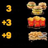 3 Panini + 3 Patatine grandi + 9 Chicken McNuggets
