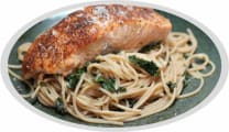 Pasta with salmon fillet