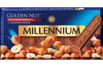 Шоколад молочний Millennium Gold з цілими лісовими горіхами (90г)