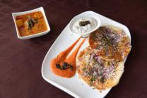 Onion uttapam with sambhar