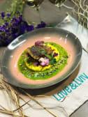 Філе сібаса на кукурудзяному ризото з соусом з петрушки й ялівцю(250г)