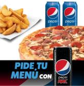 Pizza Mediana + 2 bebidas + patatas -30%