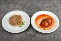 Мітболи в томатному соусі + гречана каша (290г)