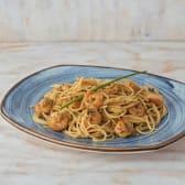 Spaguetti con langostinos al vino blanco
