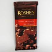 Шоколад Рошен екстрачорний з цілими лісовими горіхами