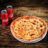 1x პიცა ოთხი ყველით + 2x კოკა კოლა