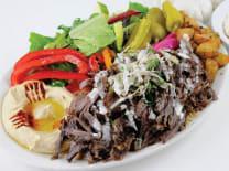 Shawarma meat & humus  & french fries