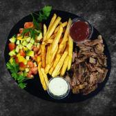 М'ясо на вибір, картопля та салат