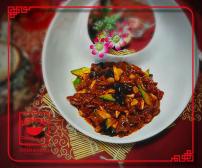"""F8 """"სიჩუანური"""" საქონლის ხორცის ნაჭრები ჩინური სოკოთი და ბამბუკით"""