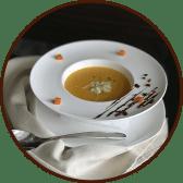 Крем-суп з  гарбуза з дуетом сирів (340г)