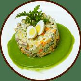 Салат Олів'є з язиком та соусом з зеленого горошку (250г)