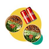 2X შემწვარი ქათმის პოკე, სუშის ბრინჯით + 2x კოკა-კოლა