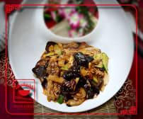 """D9 """"სიჩუანური"""" ქათმის ხორცის თხელი ნაჭრები ჩინური სოკოთი და ბამბუკით"""