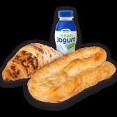 Burek motani s mesom + croissant s lješnjakom +  jogurt 2,8% meggle