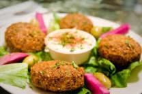 Falafel dish & salad
