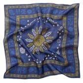 აბრეშუმის შარფი (თხელი) - მეიდანი - ლურჯი/ოქროსფერი