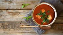 Tomato cream soup with chicken balls